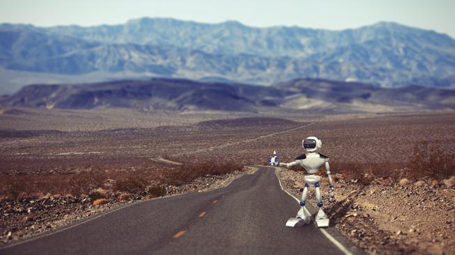 Už jste někdy viděli robota stopovat?