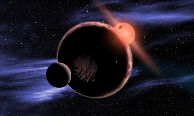 Model exoplanety se dvěma měsíci, obíhající červeného trpaslíka