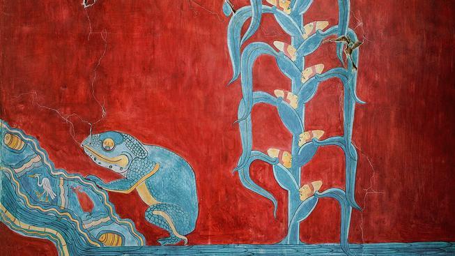 Kukuřice na nástěnné malbě, archeologické vykopávky Cacaxtla. Ilustrační snímek