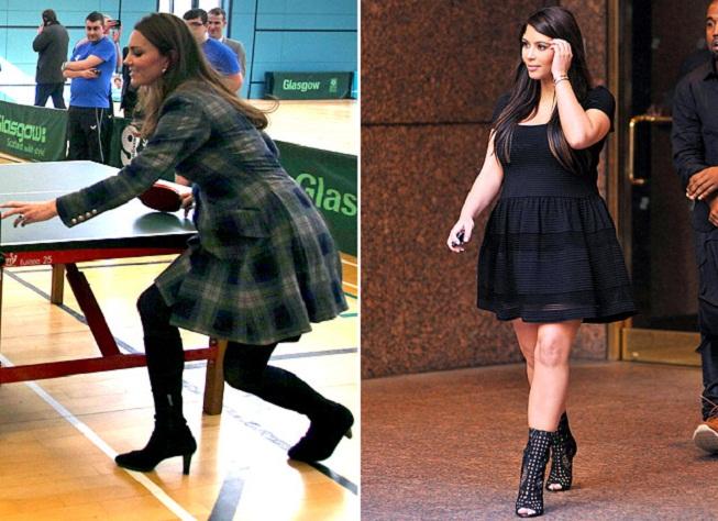 Kate Middleton a Kim Kardashian na podpatcích