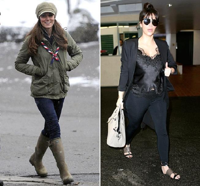 Kate Middleton a Kim Kardashian v neformálním oblečení