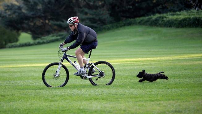 George W. Bush na kole a Miss Beazley