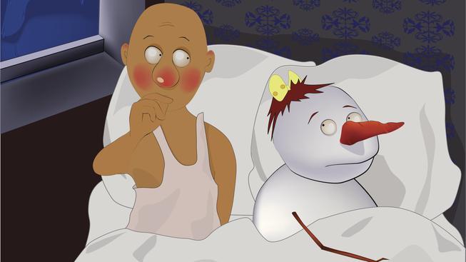 sněhulák v posteli