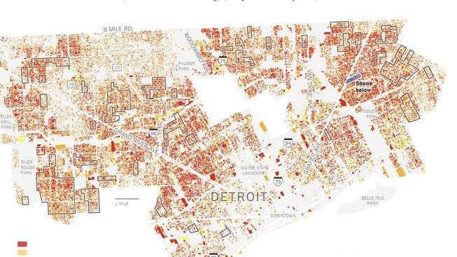 Mapa chátrajících budov v Detroitu