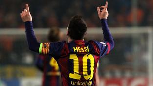 Lionel Messi slaví svůj 74. gól v Lize mistrů, kterým překonal rekord soutěže