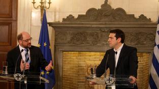 Jedna z evropských špiček Martin Schulz při návště Řecka