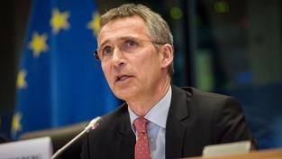 Jens Stoltenberg na bruselském jednání zahraničního výboru EP