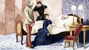 Výjev ze smrti korunního prince Rudolfa - u lůžka ho oplakávají rodiče a manželka