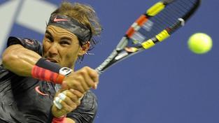 Rafael Nadal během duelu s Fogninim