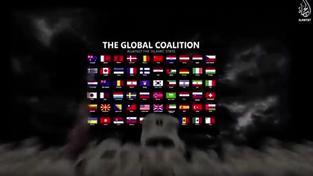 Záběr z výhružného videa IS. Česká vlajka je vpravo nahoře