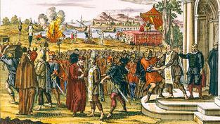 Portugalsko, 1664: Upálení 12 lidí 'obžalovaných z židovství'. Lept od Jana Luykena (1649-1712)