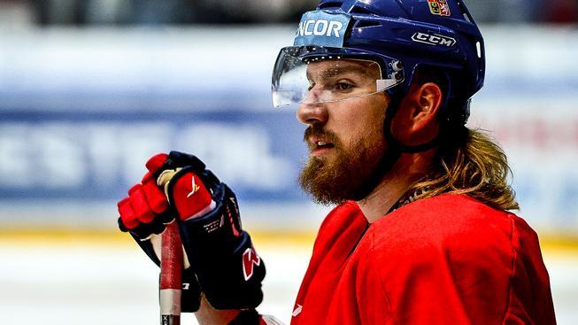 Lukáš Kašpar na tréninku české hokejové reprezentace