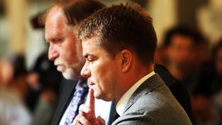Odsouzený Marek Dalík se svým právním zástupcem