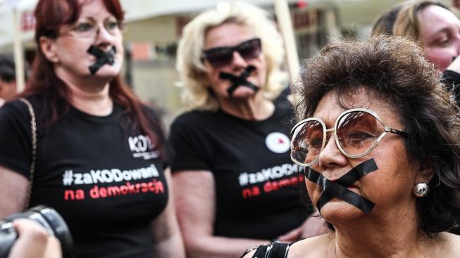 Protest v Gdaňsku kvůli zákonu o ústavním tribunálu