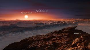 Umělecká představa povrchu planety Proxima b