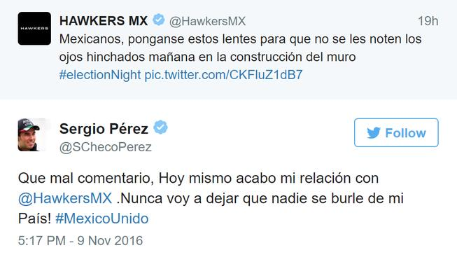 Sergio Pérez reagoval na rasistický tweet svého sponzora skončením spolupráce