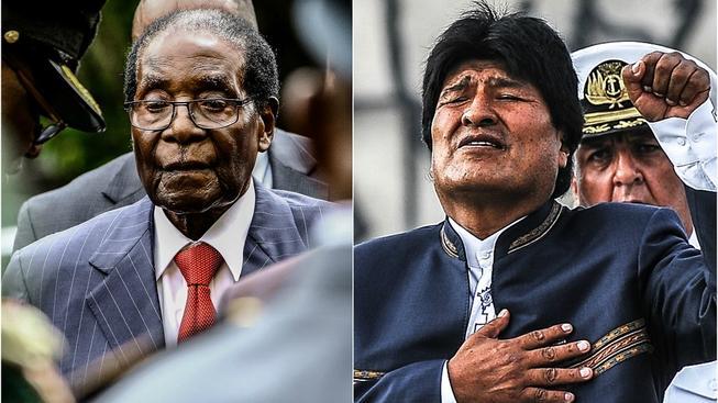 Mugabe (vlevo) a Morales (vpravo)