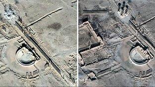 Románské sloupy a amfiteátr v Palmýře zničili islamisté. Vlevo snímek z 20. ledna, vpravo z 26. prosince loňského roku