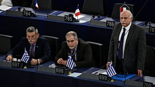 Řecký europoslanec Eleftherios Synadinos (vlevo)