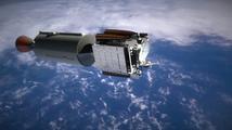 Animace letu rakety Falcon Heavy
