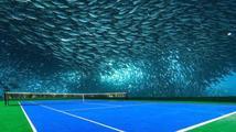 Sci-fi podmořská tenisová hala v Dubaji. Šli byste na zápas?