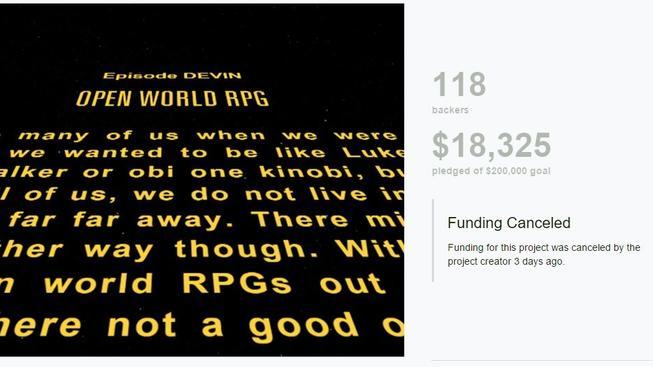 Kickstarter kampaň na Star Wars hru, která je všem pro smích