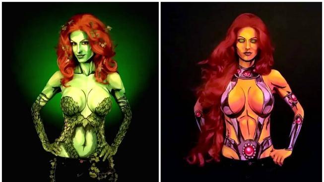Podívejte se na umělkyni, která maluje superhrdinské kostýmy přímo na své nahé tělo