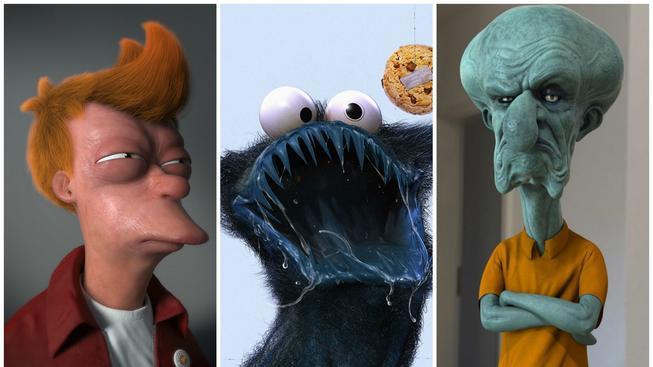 Děsivá 3D podoba našich oblíbených animovaných postav
