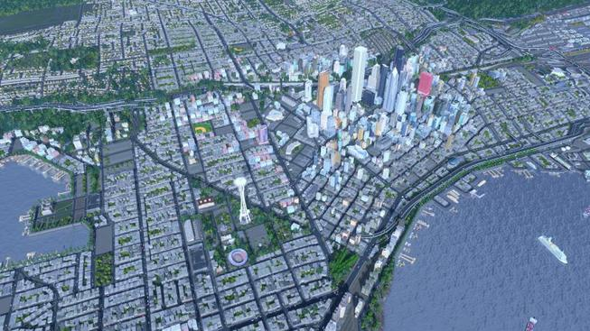 Seattle postavený ve hře Cities: Skylines