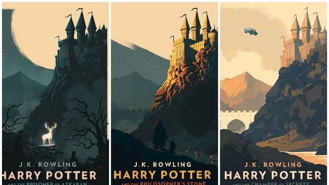 Nádherné minimalistické obálky knih na motivy Harryho Pottera