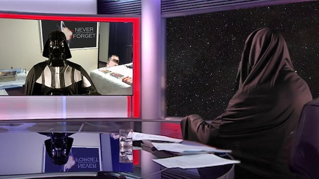 Jak to vypadá, když Dartha Vadera během interview vyruší jeho droidi
