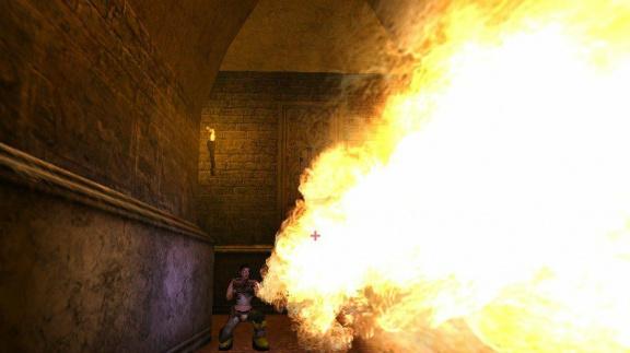 Ukázka plamenometu v Gore