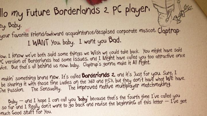 Hrdina Borderlands 2 píše PC hráči