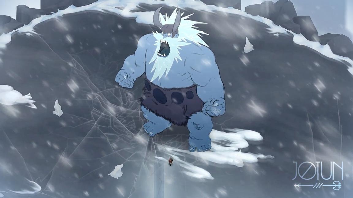 Vikinský Jotun připomíná Shadow of the Colossus říznutý stylem The Banner Saga