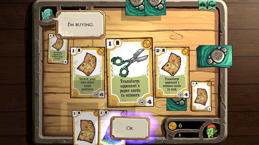 Rock, map, scissors kombinuje karetní hru a kámen – nůžky – papír
