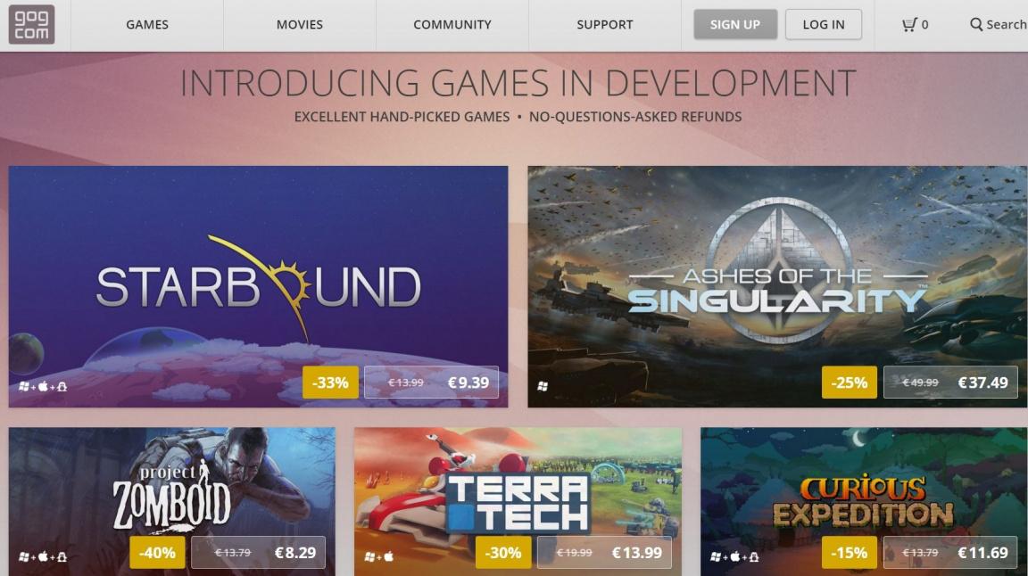 GOG nově prodává early access hry, které můžete do dvou týdnů vrátit