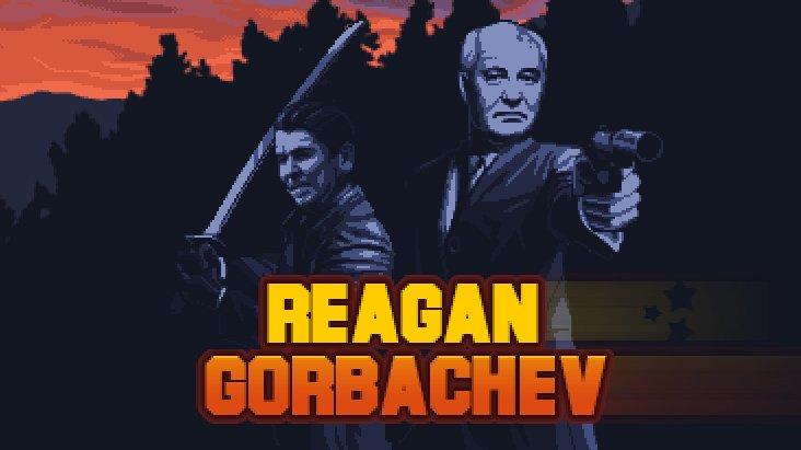 Reagan Gorbachev dává slavným politikům do rukou raketomet a katanu