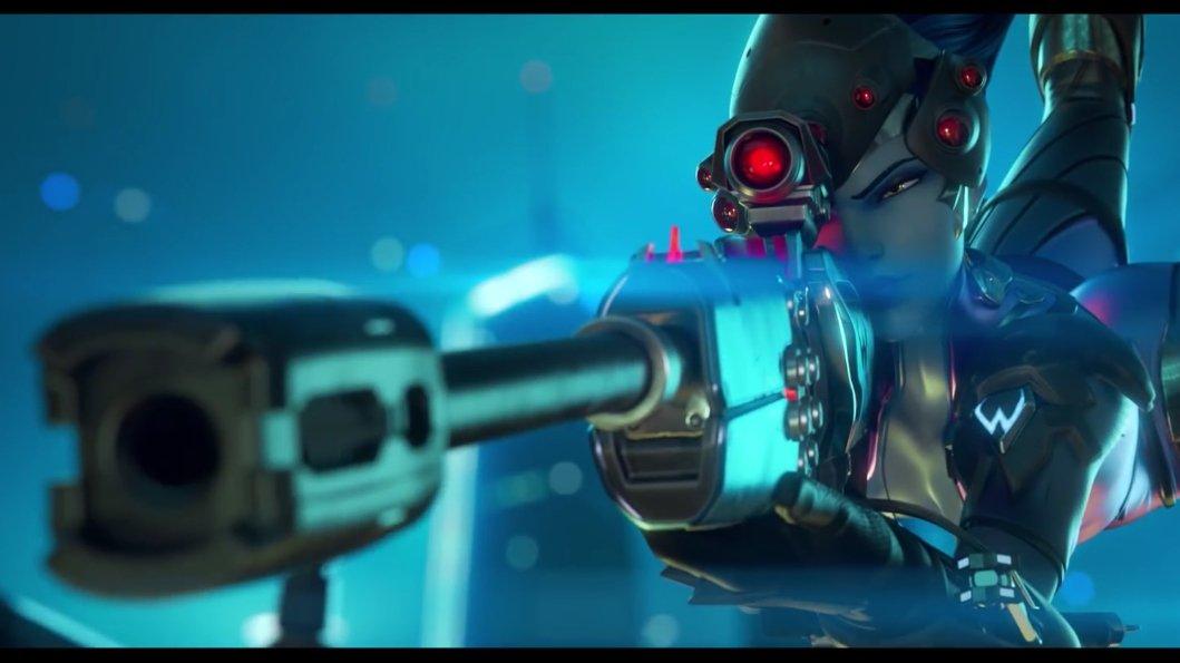 Spektakulární představení odstřelovačky Widowmaker z online akce Overwatch