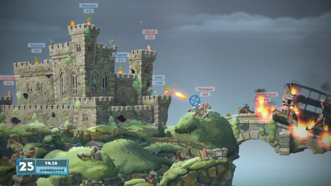 Video z Worms W.M.D předvádí taktické využití boje uvnitř budov