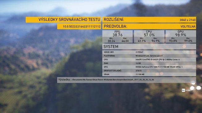 Tom Clancy's Ghost Recon® Wildlands 4K ultra detaily Benchmark 2