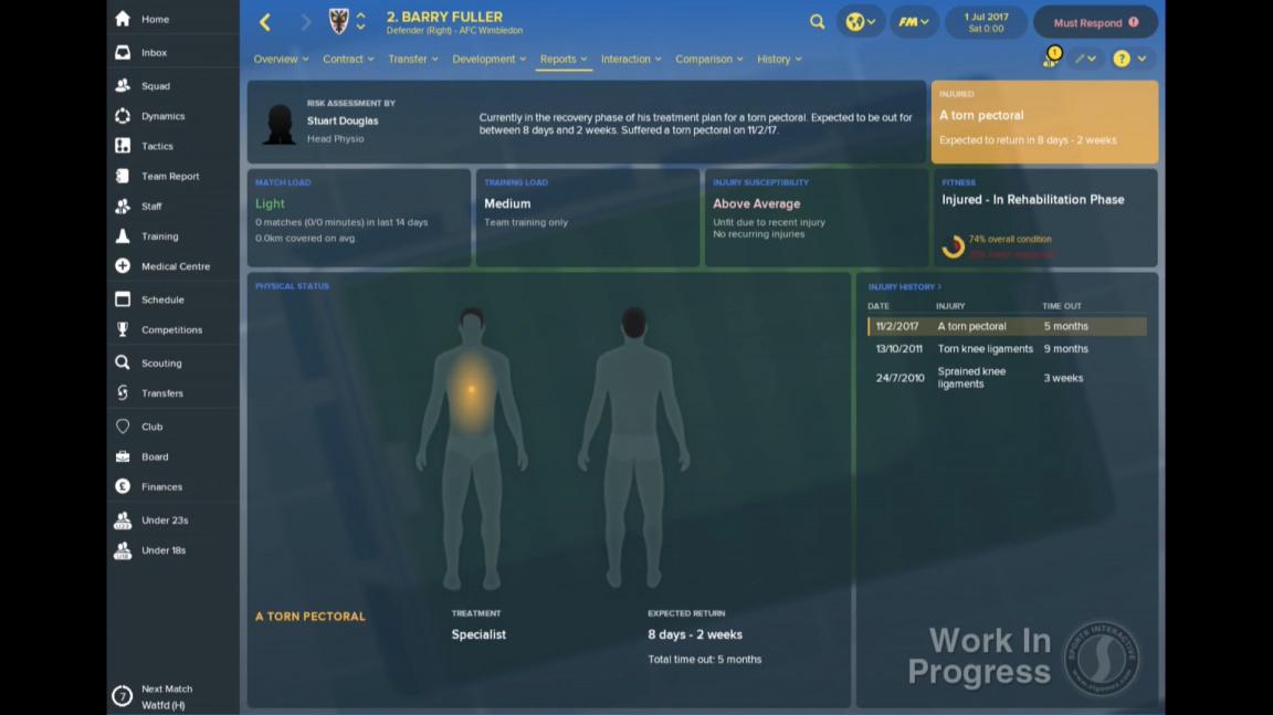 Máte geniální zápasový plán, a pak si vaše hvězda přerazí nohu. Football Manager 2018 vylepšuje taktiku a zranění