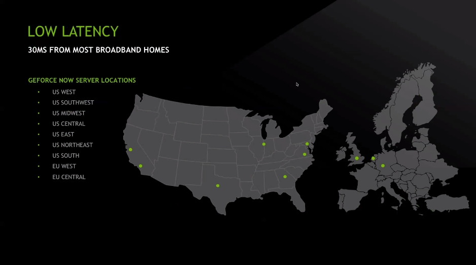 GeForce NOW lokality serverů