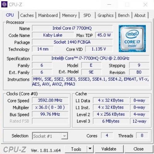 CPU-Z Asus ROG Strix GL553VD