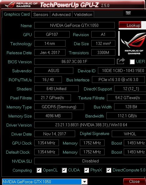 GPU-Z Asus ROG Strix GL553VD