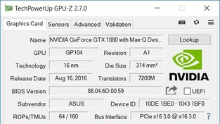 Asus ROG Zephyrus GPU-Z