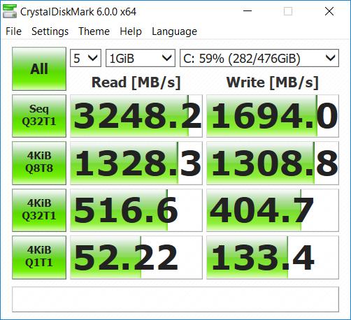 CrystalDiskMark benchmark