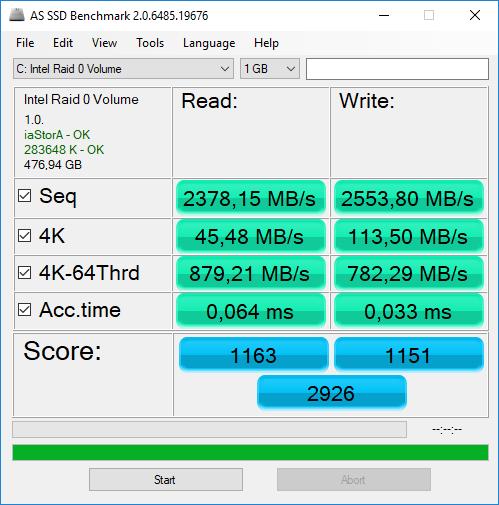 AS SSD benchmark Omen X