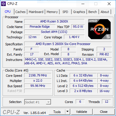 CPU-Z AMD Ryzen 5 2600X