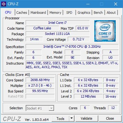 CPU-Z Intel Core i7-8700