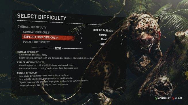 Shadow of the Tomb Raider obtížnost